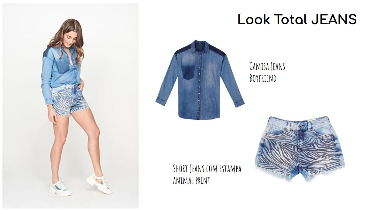 combinação de look: short jeans e camisa jeans