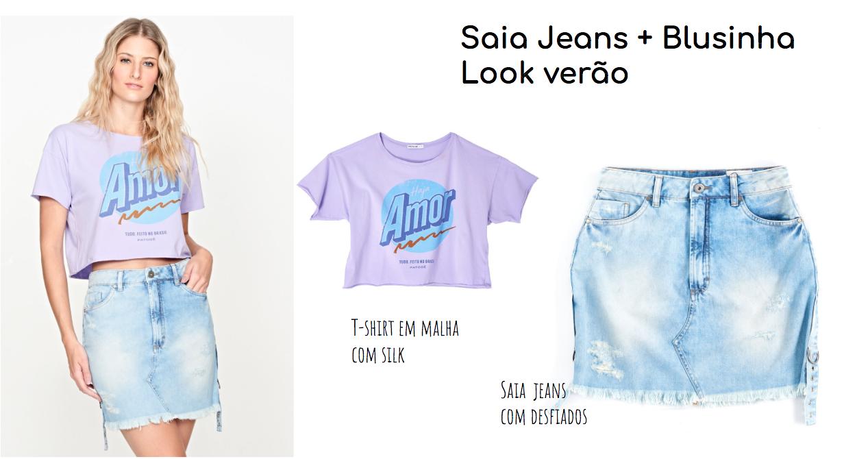 combinação do look com saia jeans e blusa básica
