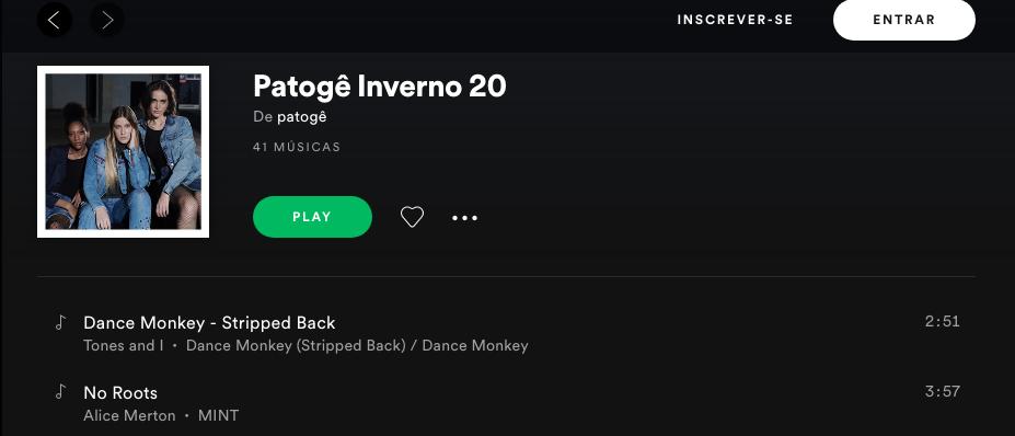 playlist inverno 2020